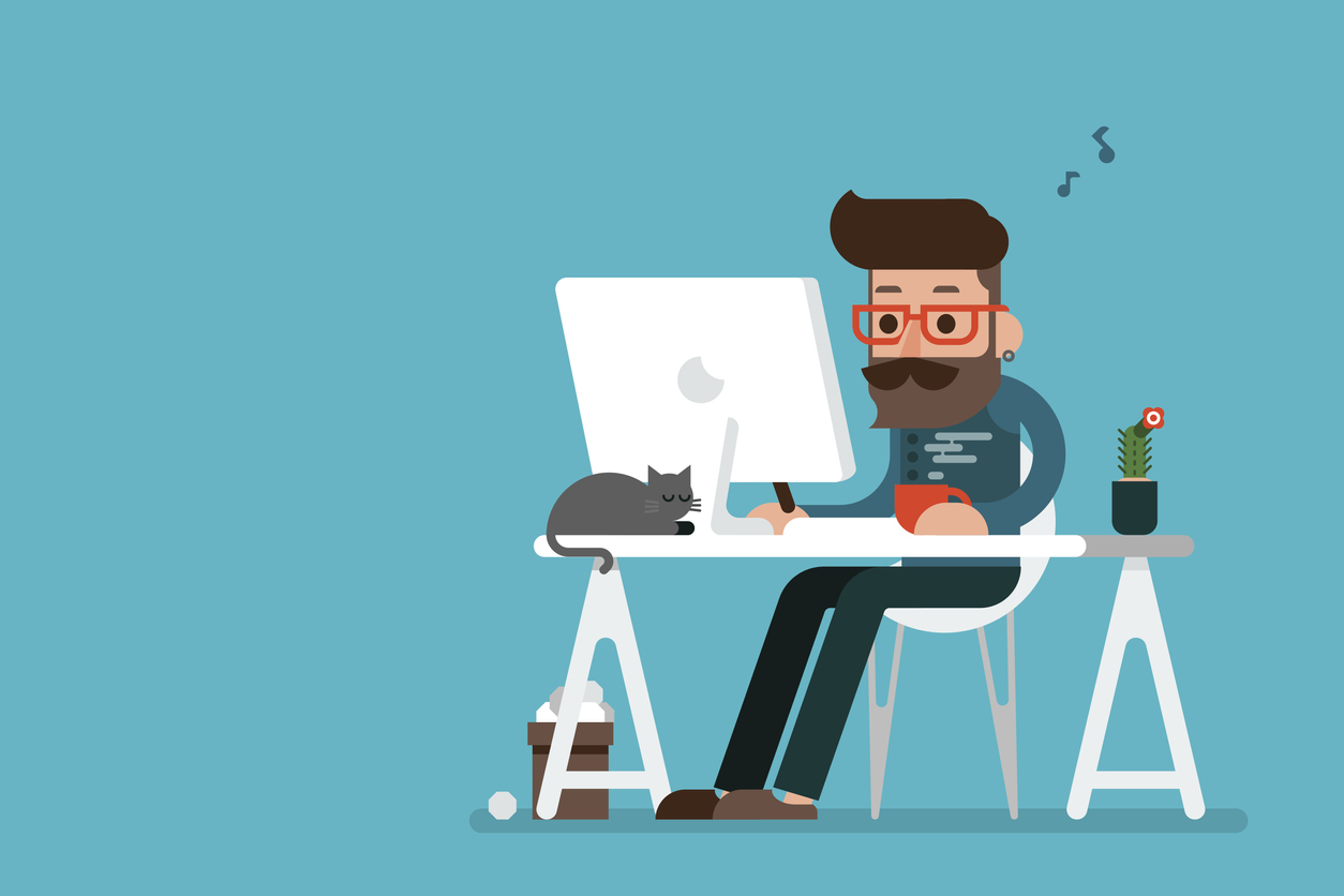 Illustration of a man working at his desktop computer with a cat behind it.